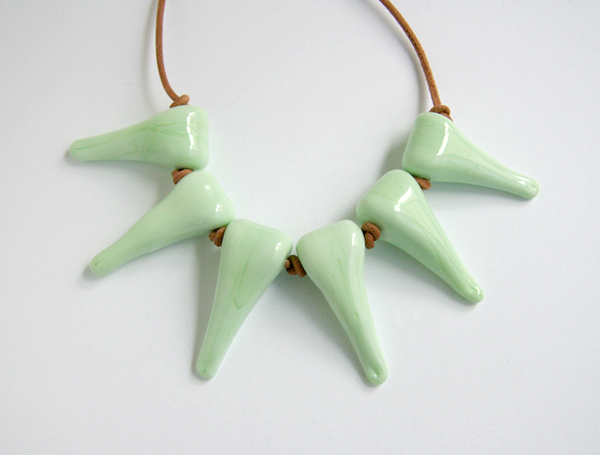 Mint green glass spikes