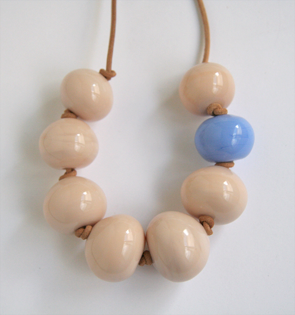 Nude and periwinkle blue glass necklace