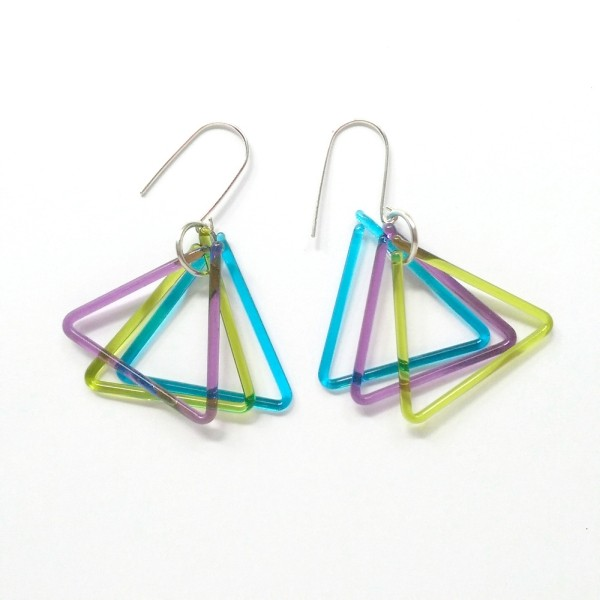 Glass Triangle Earrings - multi coloured transparent colours